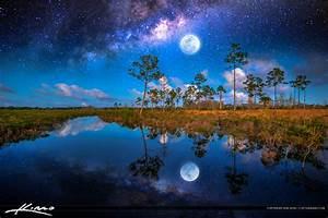 Fantasy Photo Art Milkyway Full Moon Forest