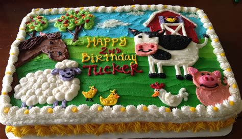 The Gallery For > Farm Birthday Sheet Cake
