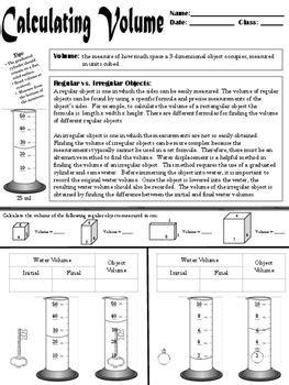 calculating volume regular vs irregular objects science