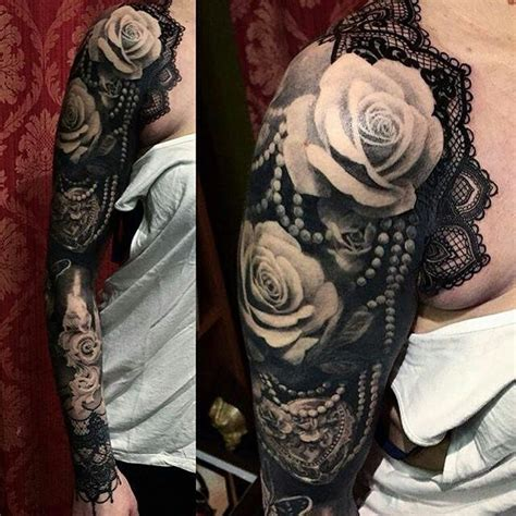 Lace And Roses Sleeve Lace Tattoo Tattoos Rose Tattoos
