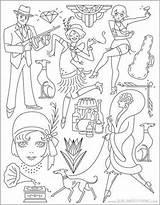 Coloring Roaring Twenties Embroidery Patterns Craft Motifs sketch template