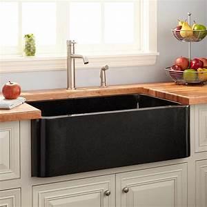 33, U0026quot, Polished, Granite, Farmhouse, Sink, -, Black