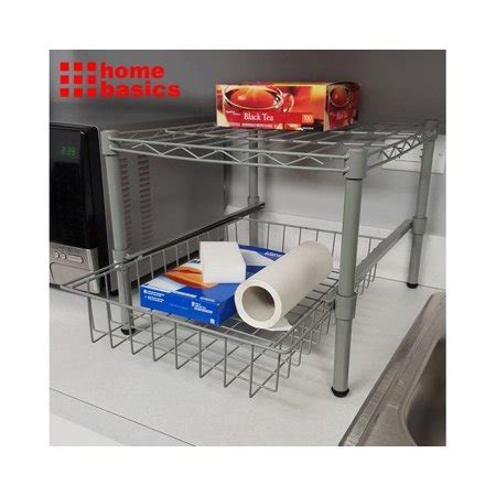 walmart pull out home basics kitchen helper shelf with pull out basket