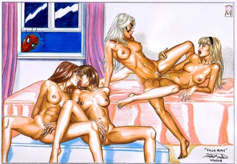 Lesbian Foursome Mary Jane And Gwen Stacy Lesbian Hentai