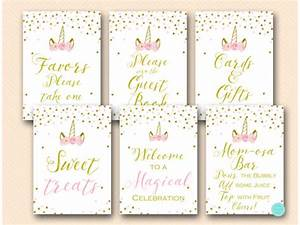 Pink and Gold Unicorn Baby Shower Signs Printabell • Express