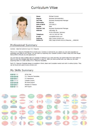 free cv templates international comoto