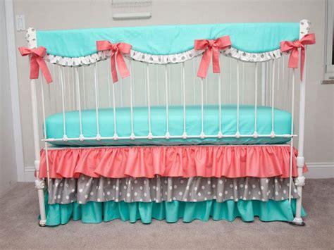 Coral And Aqua Crib Bedding by Bumperless Aqua Coral And Gray Baby Crib Bedding