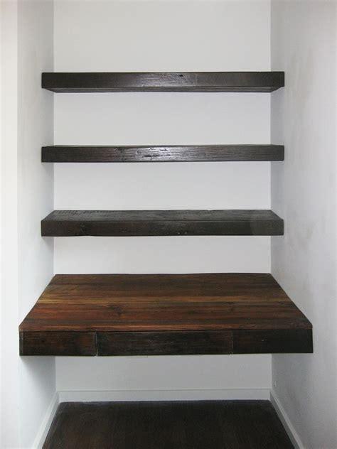 Wood Shelves by Custom Made Reclaimed Wood Desk And Shelves Construction