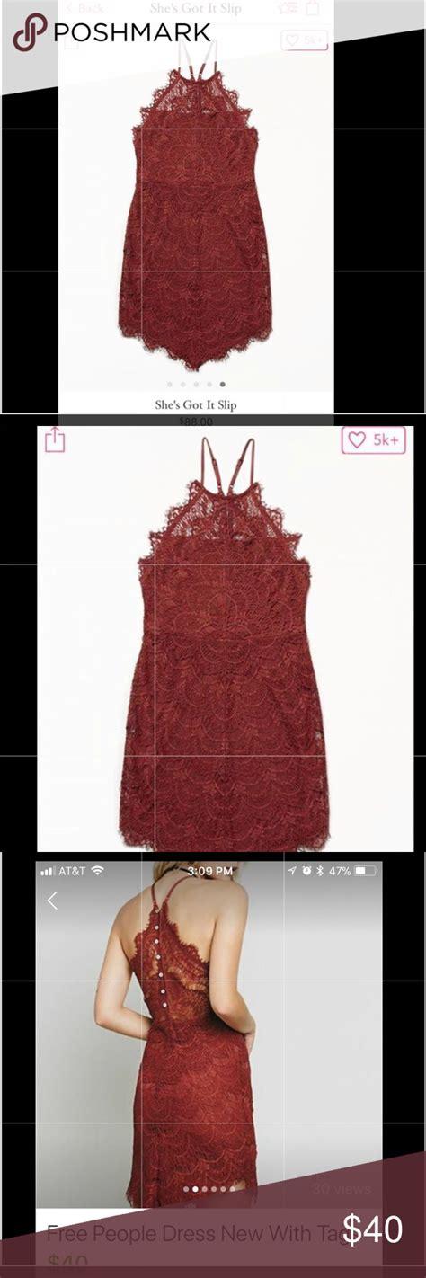 people slip dress lace burnt orange worn  lined