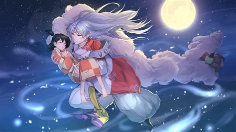 Here you can get the best anime phone wallpapers for your desktop and mobile devices. Sesshomaru, Anime, Moon, Night, 4K, #6.2335 Wallpaper