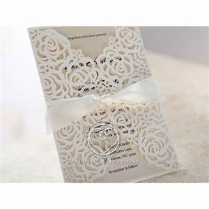 floral laser cut with customised colour insert satin bow With laser cut lace wedding invitations canada