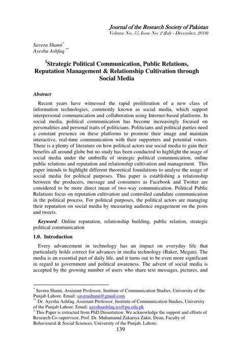 strategic political communication public relations