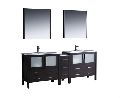Inch Double Sink Bathroom Vanity In Espresso With