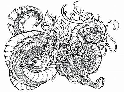 Dragon Coloring Pages Complex Hard Getcolorings Printable