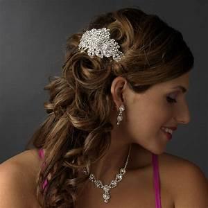 Silver Clear Hair Barrette Elegant Bridal Hair Accessories