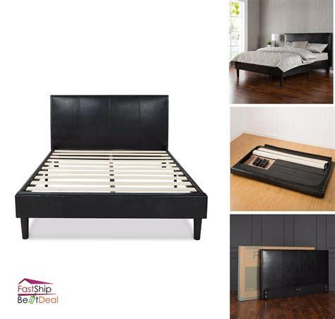 Leather Headboard Bed Frame by Faux Leather Upholstered Platform Bed Frame Wooden Slats