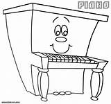 Piano Cartoon Coloring Pages Drawing Happy Sketch Getdrawings Template sketch template