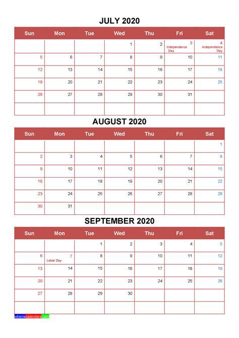 printable july august september  calendar template