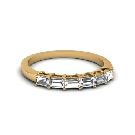 baguette cut diamond womens wedding band   yellow