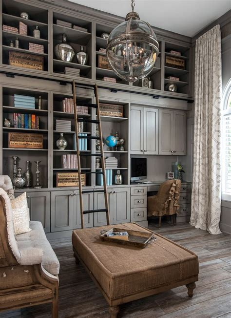 dura supreme cabinetry library in heritage paint gray