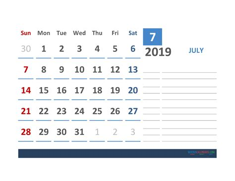 july  calendar template  space  notes