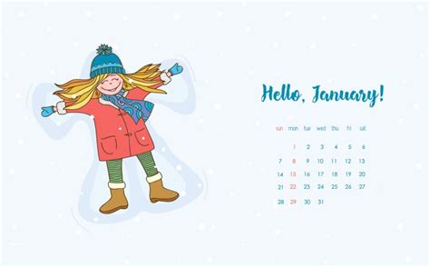 january  cute calendar wallpaper desktop