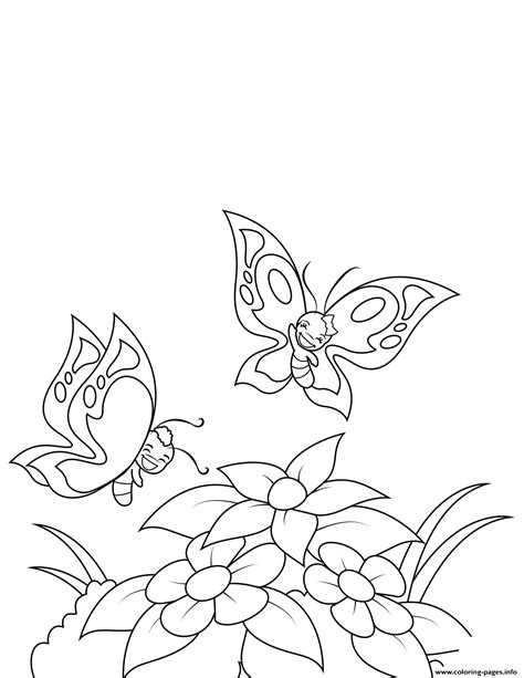happy butterflies fly  flowers coloring pages printable