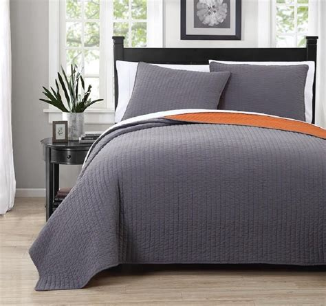 Grey Coverlet by Orange And Grey Bedding Sets With More Ease Bedding With