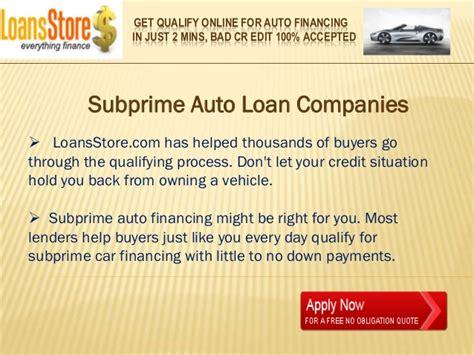 subprime auto loans lenders