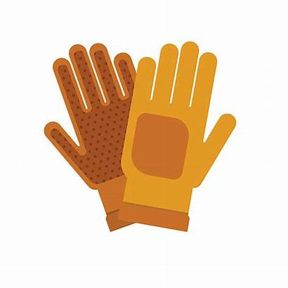 Gloves Gardening Clipart Flat Yellow Background Vector