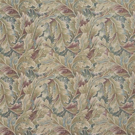 Floral Upholstery Fabric by Burgundy And Green Floral Leaf Tapestry Upholstery Fabric