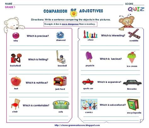 easy free worksheets on adjectives for grade 1 goodsnyc
