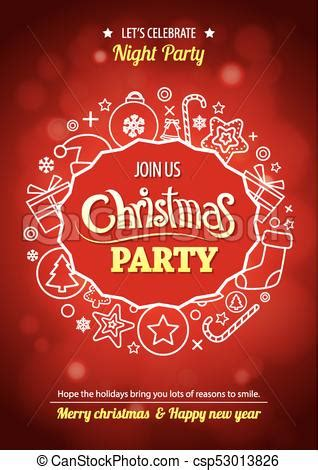 Merry christmas party for flyer brochure design on red