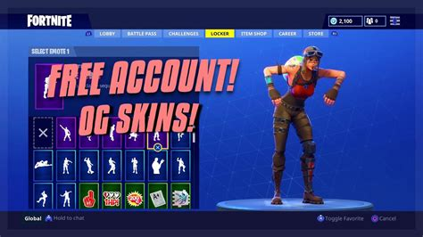 fortnite account og skins info  description