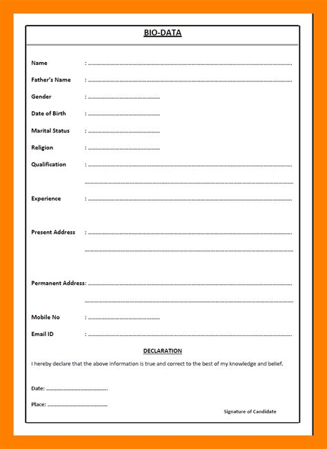 Biodata Form Free by Image Result For Cv Format Pdf Or Word Pdf Biodata
