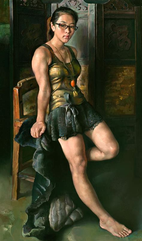 chen ke ping chinese b 1952 oil on canvas {figurative art muscular female leaning against