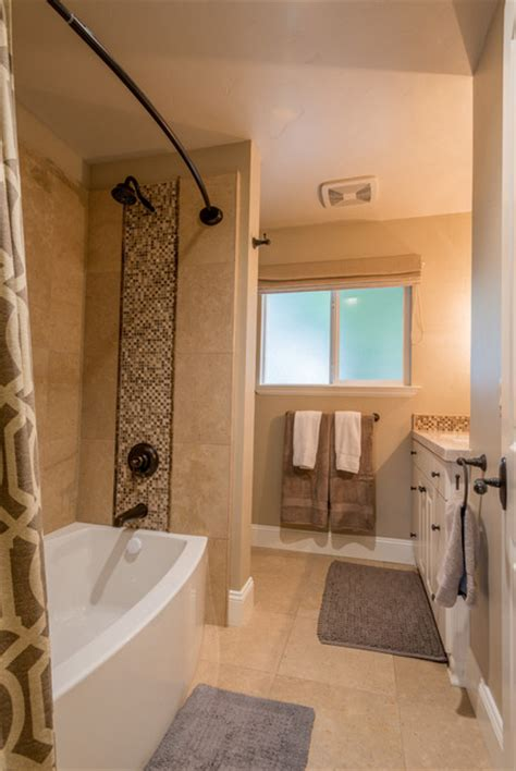 ranch house  transitional style remodel transitional bathroom  metro  design