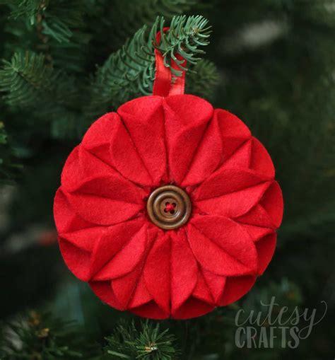 pretty poinsettia felt christmas ornament diy candy