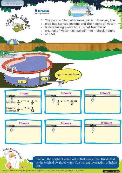 pool leak math worksheet  grade   printable