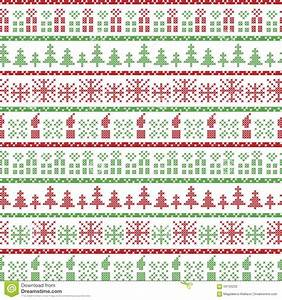 Green And Red Christmas Nordic Pattern In Including Xmas ...
