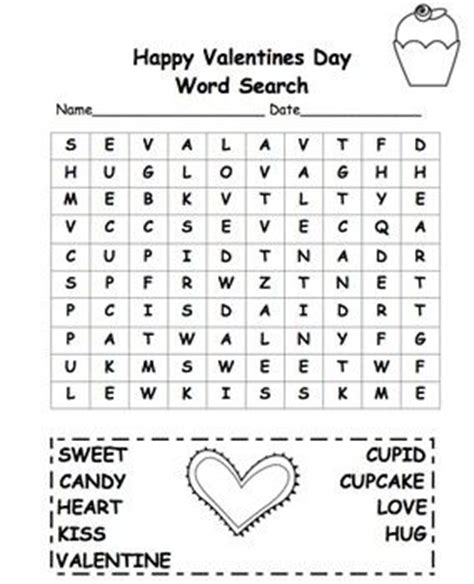 valentine s day word search 2nd grade free freebie