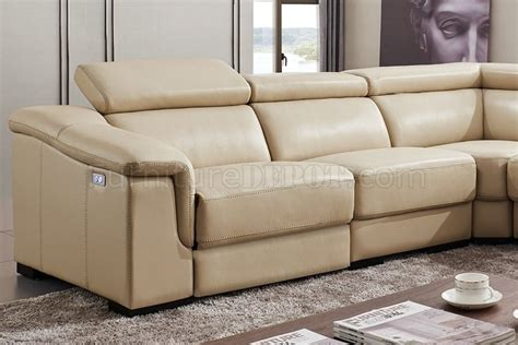 beige leather reclining sofa 760 sectional sofa in beige leather by esf w power recliner