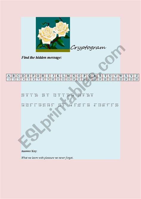 cryptogram esl worksheet  annmasarwa  images