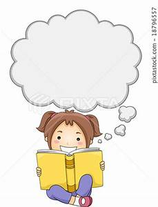 Kid Girl Book Thought Bubble - Stock Illustration ...