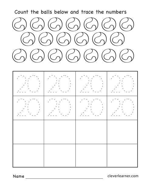 numbers 1 20 worksheets for preschoolers number 20 writing counting and identification printable 362