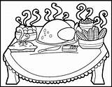Thanksgiving Coloring Dinner Table Drawing Pages Eating Meal Preschool Getdrawings Printable Getcoloringpages Getcolorings Sketch Template sketch template