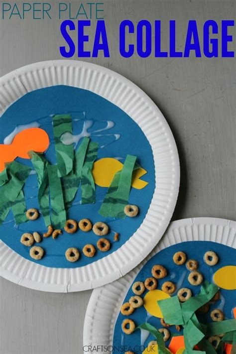 super simple paper plate sea collage paper plate crafts