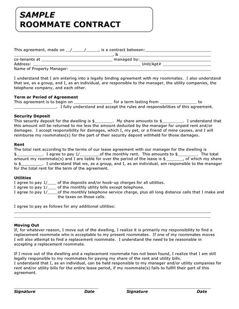 roommate agreement template template for roommate invitation templates roommate contract agreement form real