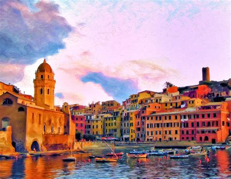 Relaxing Around Vernazza Painting By Michael Pickett