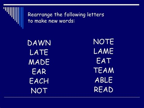 words with the following letters rearrange letters to make new words starter 25766 | rearrange letters to make new words starter 1 728